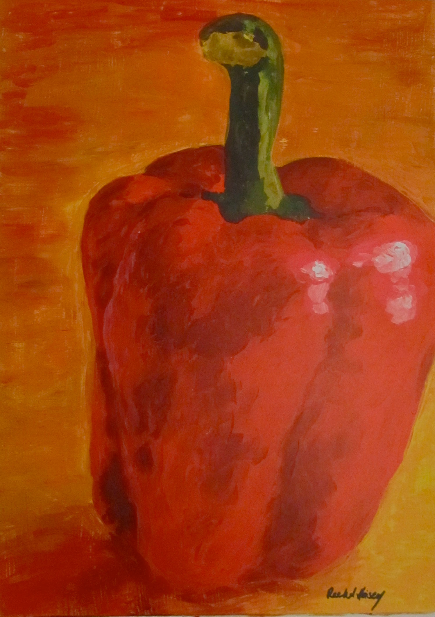 Red Pepper Painting by Rachel Lynn Heisey