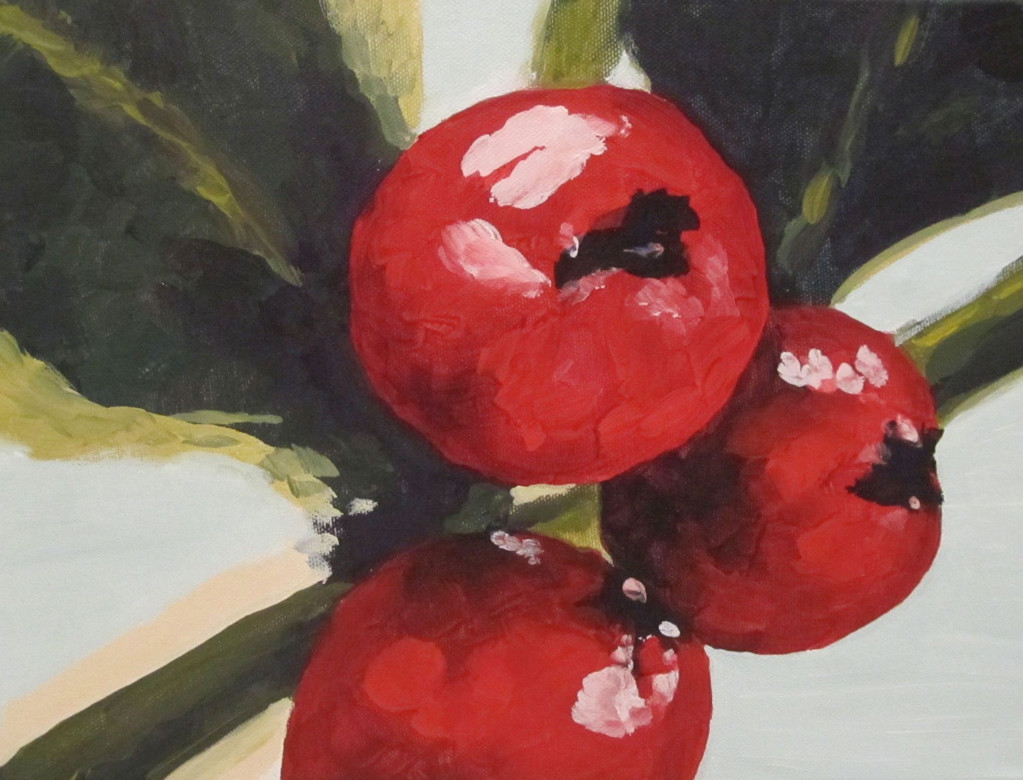 Red Winter Holiday Berries Painting by Rachel Lynn Heisey Lancaster PA