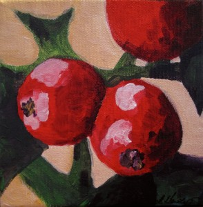 Small Red Berries Painting by Rachel Lynn Heisey Lancaster PA 17601